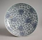 Large Chinese Ming Dynasty Blue & White Porcelain Dish - 15th / 16th C