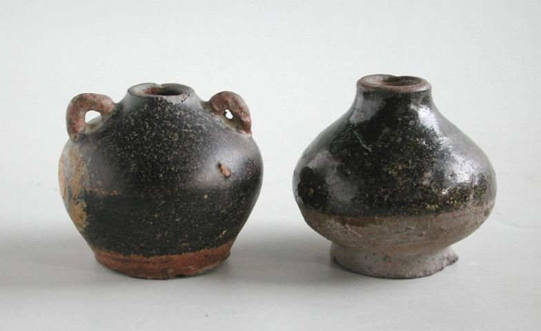 Two Khmer 11th - 12th Century Stoneware Jarlets