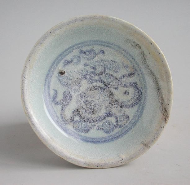 Chinese Ming Dynasty Blue & White Porcelain Dish - Fo Dog