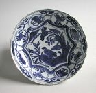 Fine Chinese Ming Dynasty Blue & White Kraak Porcelain Dish - Duck