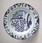 Fine Chinese Qianlong Blue & White Porcelain Dish