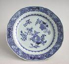 Fine Chinese Qianlong Blue & White Porcelain Octagonal Dish