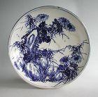 Rare LARGE Japanese Blue & White Seto Stoneware Dish - Meiji Period