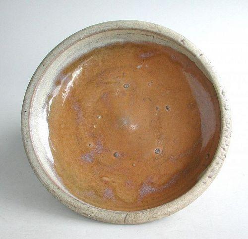Large Japanese Seto Ware Stoneware Dish - Edo Period