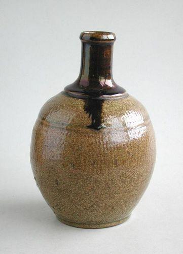 Japanese Stoneware Tokkuri (Sake Bottle) - Meiji Period
