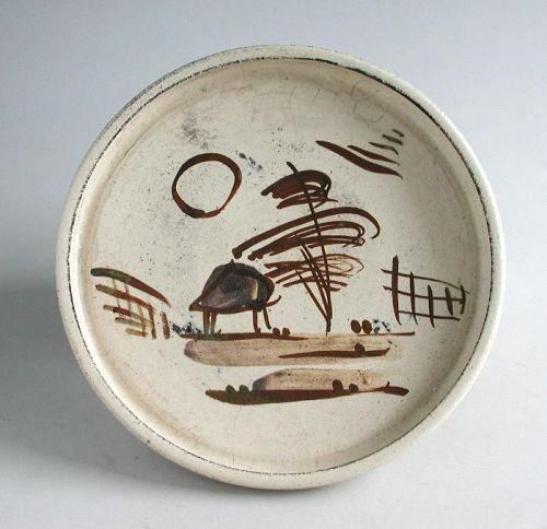 Japanese Seto Ware Andon-Zara Dish - Landscape Pattern - Meiji Period