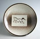 Japanese Seto Stoneware Dish with Fukizumi Horse Pattern - Edo Period
