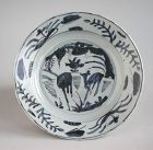 Chinese Ming Dynasty Blue & White Porcelain Dish - Deer Pattern