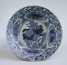 Fine & Rare Large Chinese Ming Blue & White Swatow Porcelain Bowl