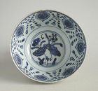Large Chinese Ming Dynasty Blue & White Porcelain Bowl - 16th C. Bird