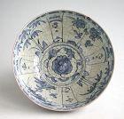 Large Chinese Ming Dynasty Blue & White Crackle-Glazed Porcelain Bowl