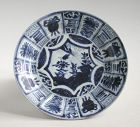Chinese Kangxi Blue & White Porcelain Dish (Kraak)