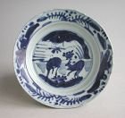 Chinese Ming Dynasty Blue & White Porcelain Dish - Deer Pattern -Wanli