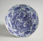 Fine Chinese Ming Dynasty Blue & White Kraak Porcelain Dish - Bird
