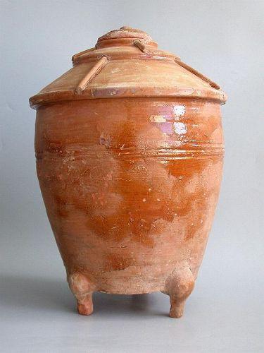 SALE Rare Large Chinese Han Dynasty Glazed Granary Jar