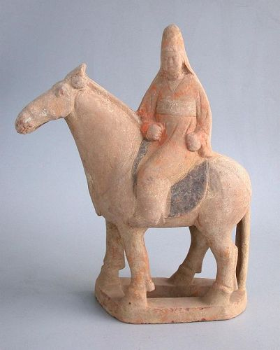 SALE Rare Chinese Tang Dynasty Painted Pottery Horse & Rider