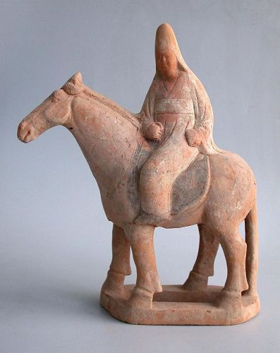 SALE Chinese Tang Dynasty Pottery Horse & Rider with Oxford TL Test