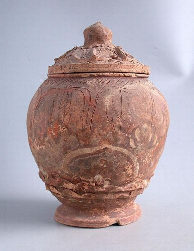 SALE Large Chinese Song / Yuan Dynasty Painted Pottery Buddhist Jar
