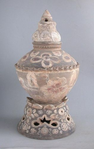 SALE Rare Chinese Tang Dynasty Painted Pottery Jar, Stand & Cover