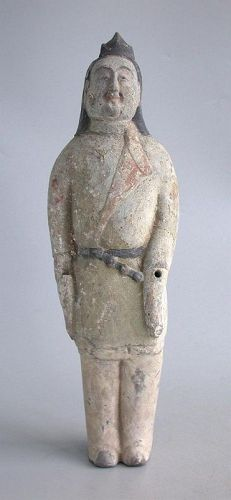 SALE Fine Chinese Northern Qi Dynasty Painted Pottery Figure (AD 550 -