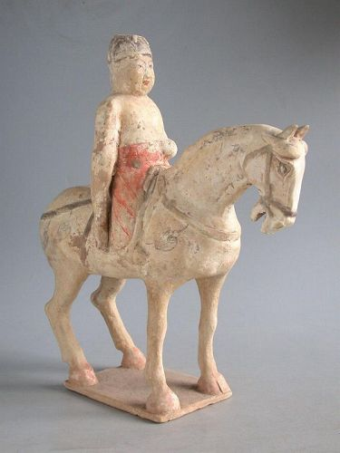 SALE Chinese Tang Dynasty White Pottery Horse & Rider