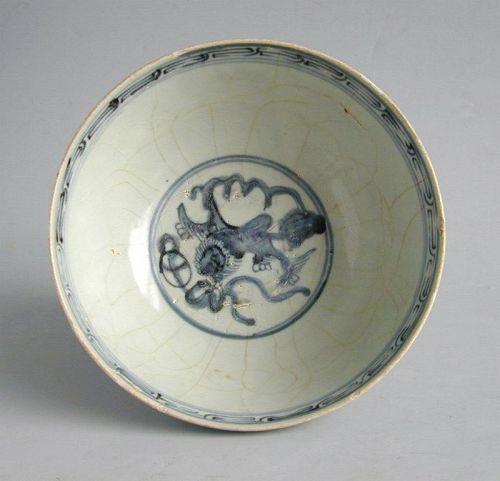 SALE Large Chinese Ming Dynasty Blue & White Porcelain Bowl - Fo Dog