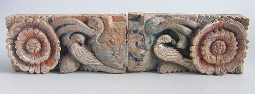 SALE Pair Chinese Ming Dynasty Painted Pottery Tiles Birds & Flowers