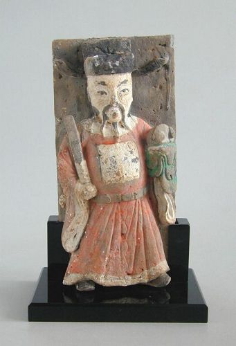 SALE Chinese Ming Dynasty Painted Pottery Mandarin Tile