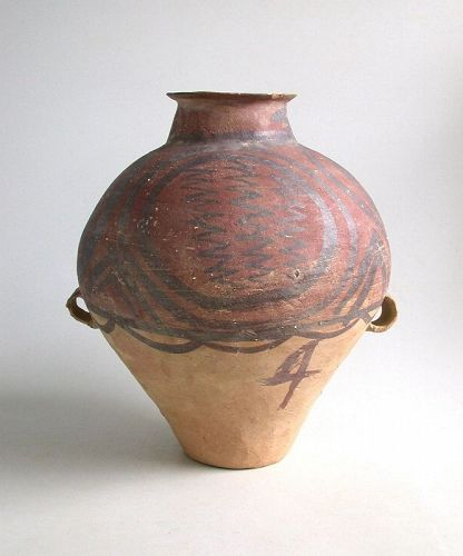 SALE Large Chinese Neolithic Machang Pottery Jar (with painted symbol)