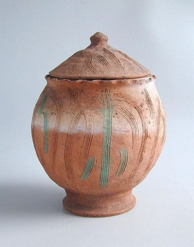 SALE Large Chinese Song / Yuan Dynasty Incised Pottery Buddhist Jar