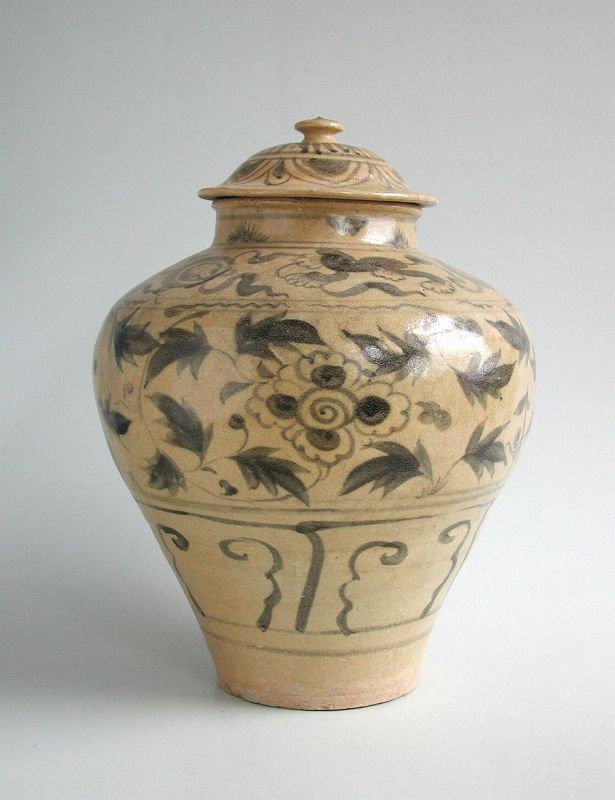 Large Chinese Yuan / Early Ming Dynasty Blue & White Covered Jar