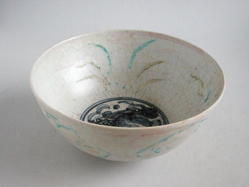 Large & Rare Chinese Ming Dynasty Blue & White Enamelled Bowl