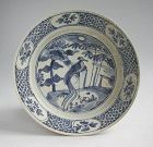 SALE Large Chinese Ming Dynasty Blue & White Porcelain Dish - Phoenix