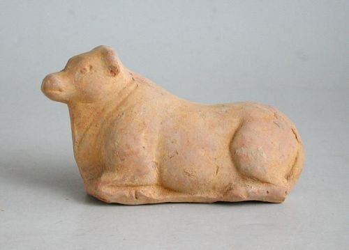 Chinese Tang Dynasty Pottery Recumbent Ox / Bull (AD 618 - 906)