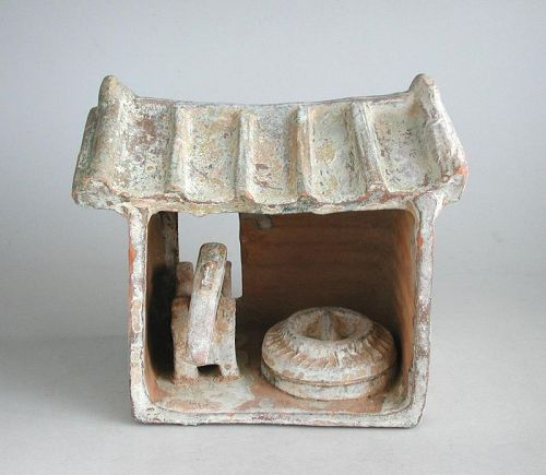 Rare Chinese Han Dynasty Glazed Pottery Milling Shed