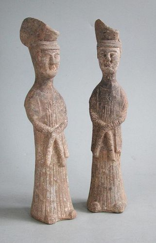 Pair of Rare Chinese Sui / Early Tang Dynasty Pottery Ladies