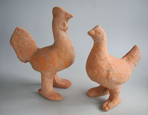 Fine Rare Large Chinese Han Dynasty Chicken & Cockerel