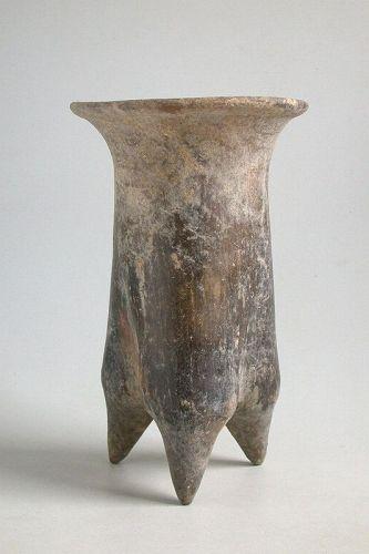 Fine Tall Chinese Neolithic Xiajiadian Burnished Pottery Li Tripod
