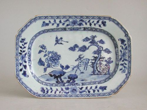 Chinese 18th Century Blue & White Porcelain Dish / Platter - Deer
