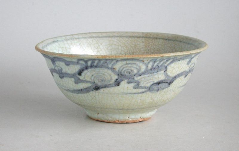 Chinese Ming Dynasty Blue & White Porcelain Bowl (15th Century)