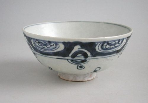Chinese Ming Dynasty Blue & White Buddhist Bowl- Wheels of Law
