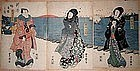 Japanese Woodblock Triptych Print Toyokuni 2nd. 1820s