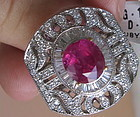 Stunning 4.11ct Unheated Burma Ruby & Diamond Ring GRS Certificated