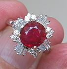Magnificent 2.91ct Unheated Pigeon Blood Ruby & Diamond Ring