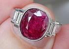 Delightful 2.70ct Unheated Burma Ruby 18k Ring GIA Certiicate