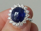 Beautiful 5.85ct Unheated Burma Sapphire Cabochon 18k Ring