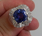 Stunning Unheated 7.48ct Blue Sapphire Platinum Ring GIA