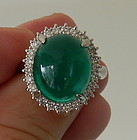 Beautiful 11.31ct Colombia Emerald Cabochon Platinum Ring