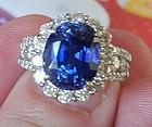 Beautiful 8.10ct Sri Lanka Blue Sapphire Platinum Ring