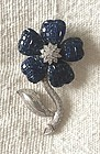 Gorgeous Invisibly Set Sapphire Flower Brooch